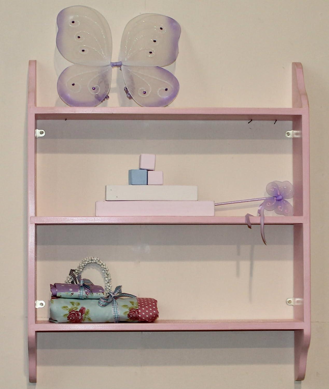 Pink shabby chic three tier nursery shelf 36