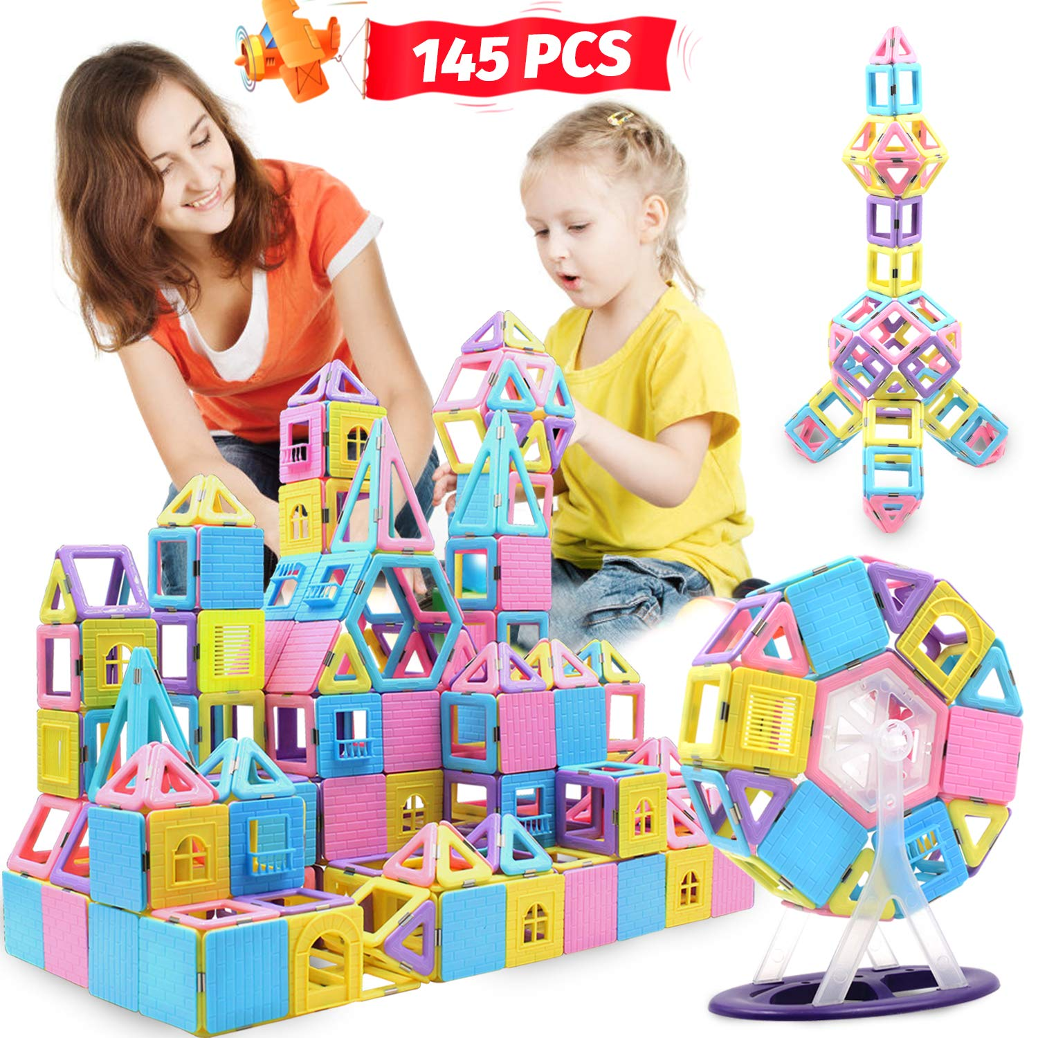 HOMOFY 145 PCS Castle Magnetic Blocks 3D Learning & Development Magnetics Building Blocks Kids Toys for 3 4 5 6 Years Old Boys Girls Gifts by HOMOFY