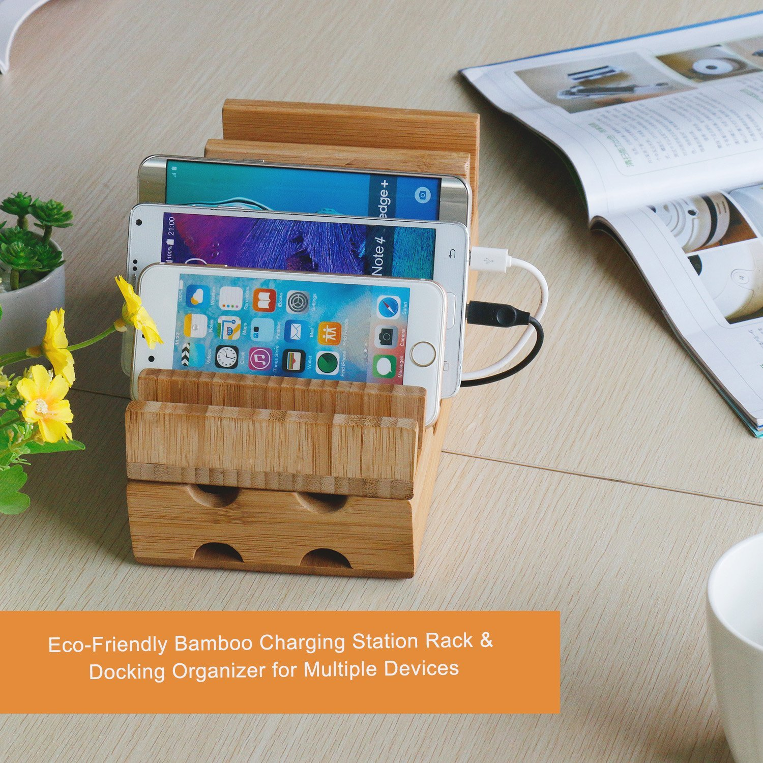 amazon com charging station levin eco friendly bamboo charging