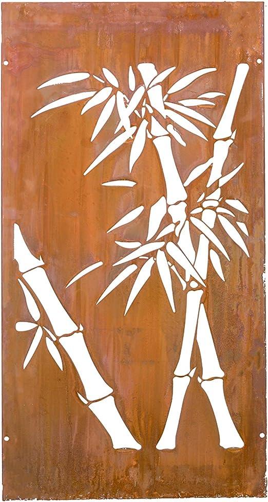 kayee® – Decoración, diseño de bambú, Biombo, decoración de pared exterior, biombos pared, privacidad, imágenes, vallas, Separador |600 mm × 1200, de óxido cortenstahl|ky Natural 005 – 1 de 2 x: Amazon.es: Jardín