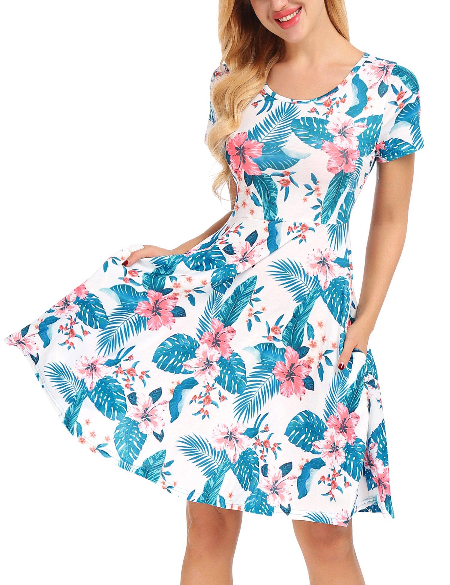 Uniboutique Women Short Sleeve Round Neck Summer Casual Flared Midi Dress