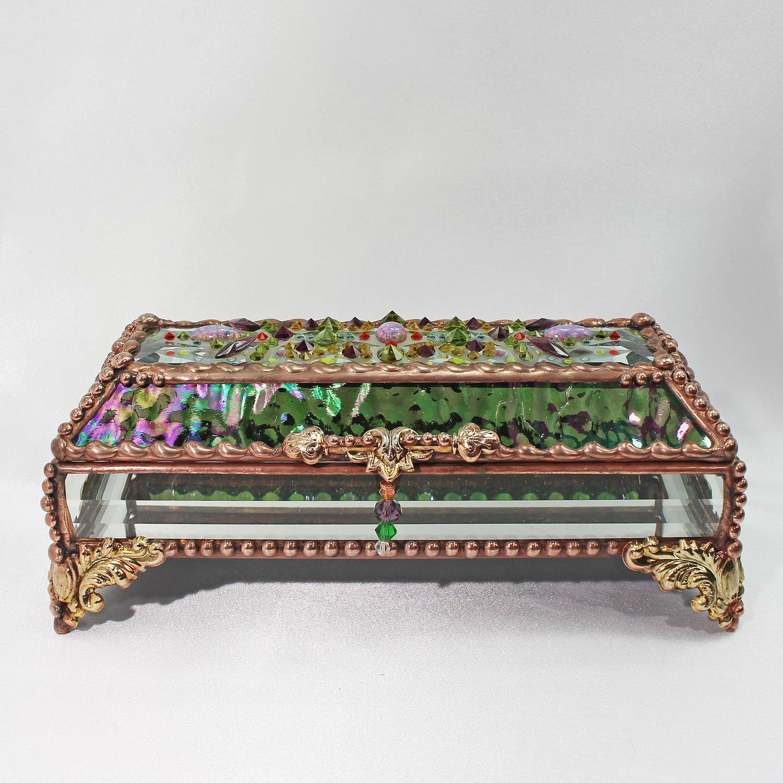 Jewel Encrusted Treasure Box, Stained Glass Box, Jewelry Box, Presentation Box, Keepsake Box, Glass Jewels