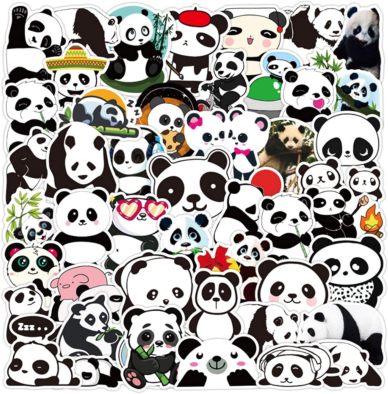 Panda Stickers| 50 PCS | Vinyl Waterproof Stickers for Laptop,Skateboard,Water Bottles,Computer,Phone,Guitar,Pandas Stickers for Kids Adult (Panda Stickers)