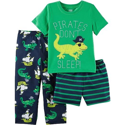 0f0340454 Amazon.com: Toddler Child of Mine by Carter's 3 piece Pajama Set-- Shirt,  Shorts, & Pants (2T, GREEN--Pirates Don't Sleep): Clothing