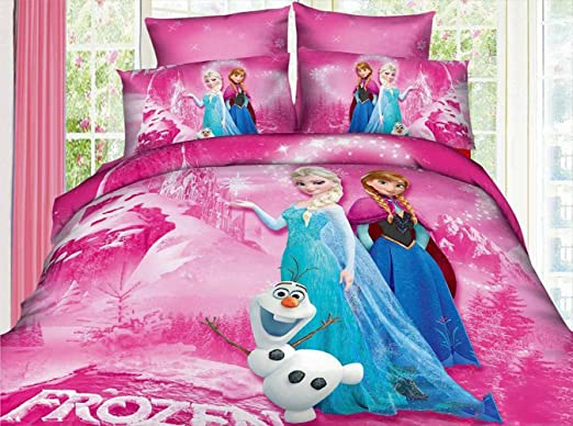 Anna Elsa double bed set 100/% cotton cartoon bed pillowcase duvet cover