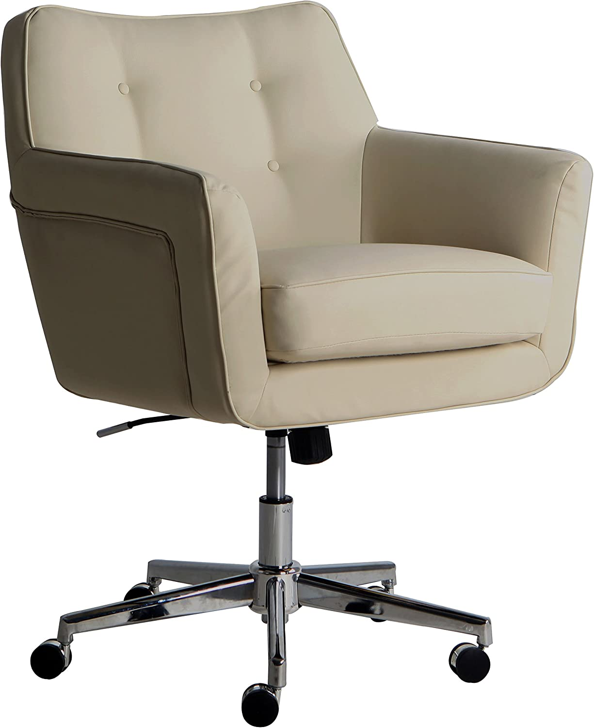 Amazon Com Serta Style Ashland Home Office Chair Sweet Cream Bonded Leather Furniture Decor