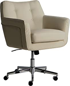 Serta Style Ashland Home Office Chair, Sweet Cream Bonded Leather