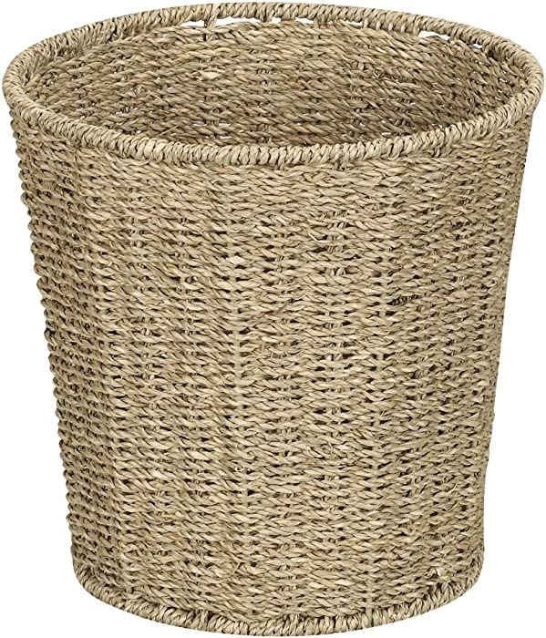 Household Essentials ML-5692 Woven Seagrass Wicker Waste Bin - for Bathrooms and Bedrooms - Natural,Brown,Small