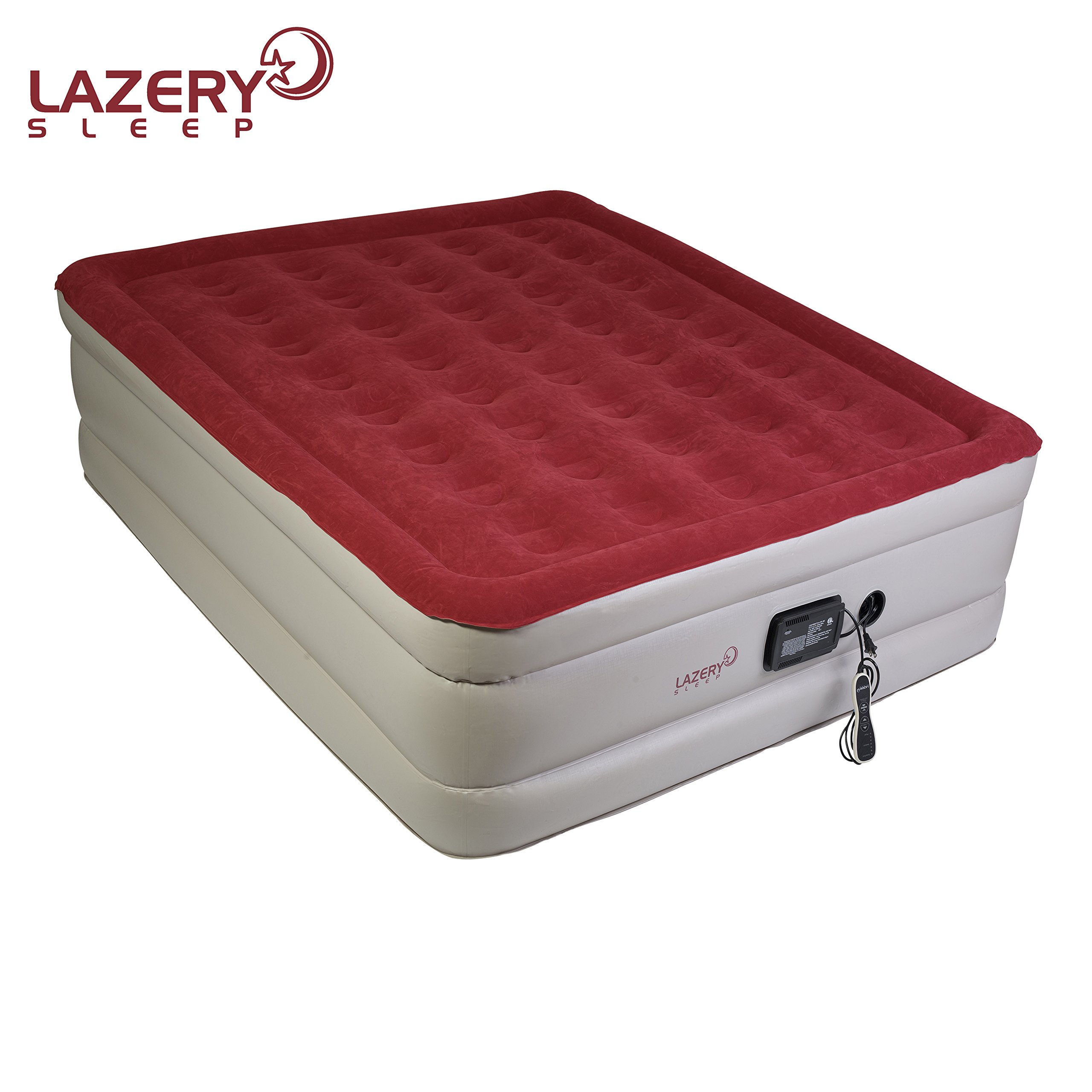 Lazery Sleep Air Mattress – Raised Electric Airbed With Built In Pump & Carry Bag – Fast Inflation, LED Remote Control & 7 Firmness Settings –Queen 78'' x 58'' x 19''