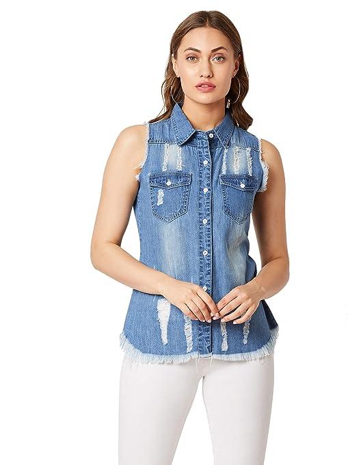 Miss Chase Women's Blue Denim Solid Shirt Women's Blouses   Shirts