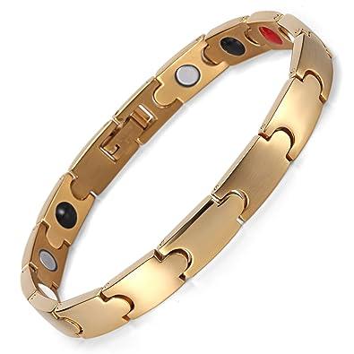 Chapado en oro pulsera de acero inoxidable magnético ...