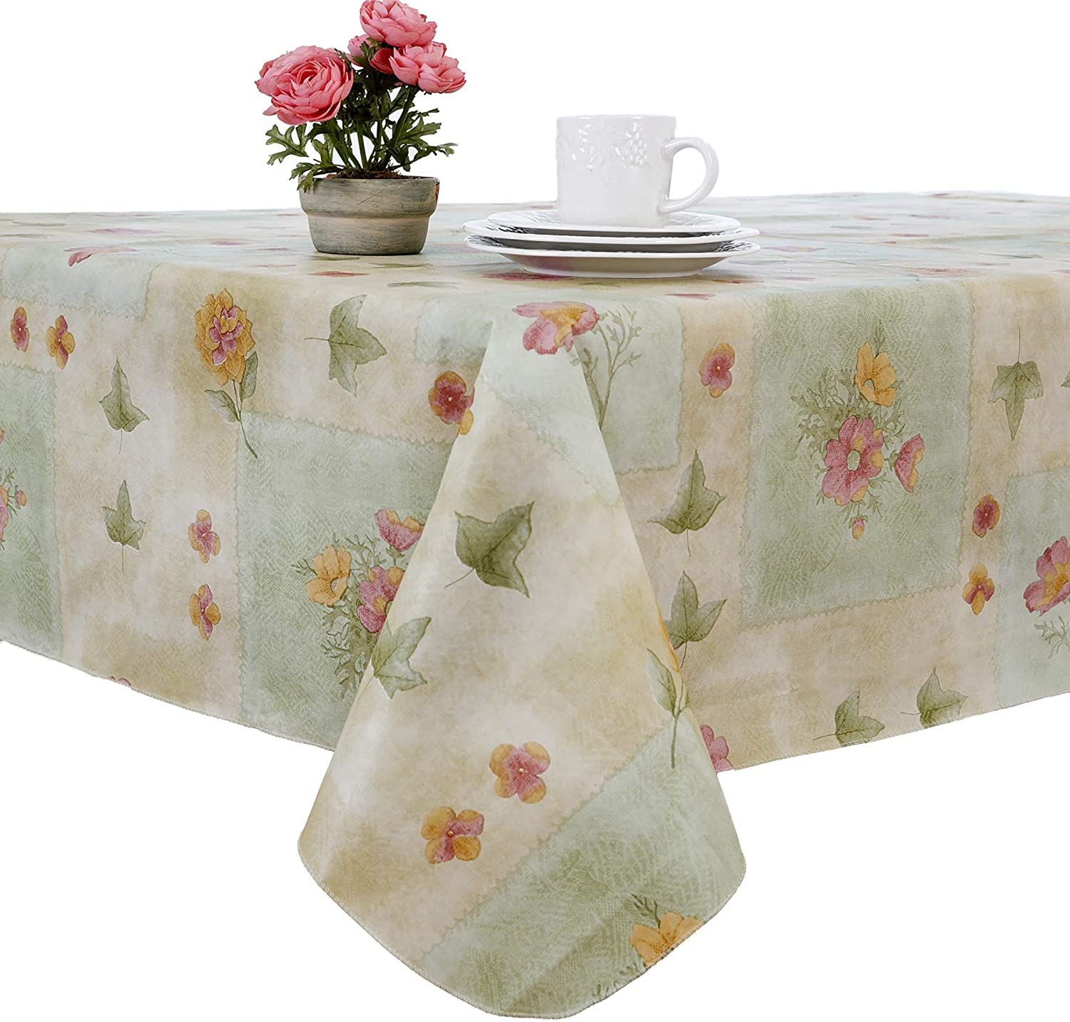 EVERYDAY LUXURIES Peony Patch Flannel Backed Indoor Outdoor Vinyl Table Linens, 60-Inch by 120-Inch Oblong Rectangle , Sage