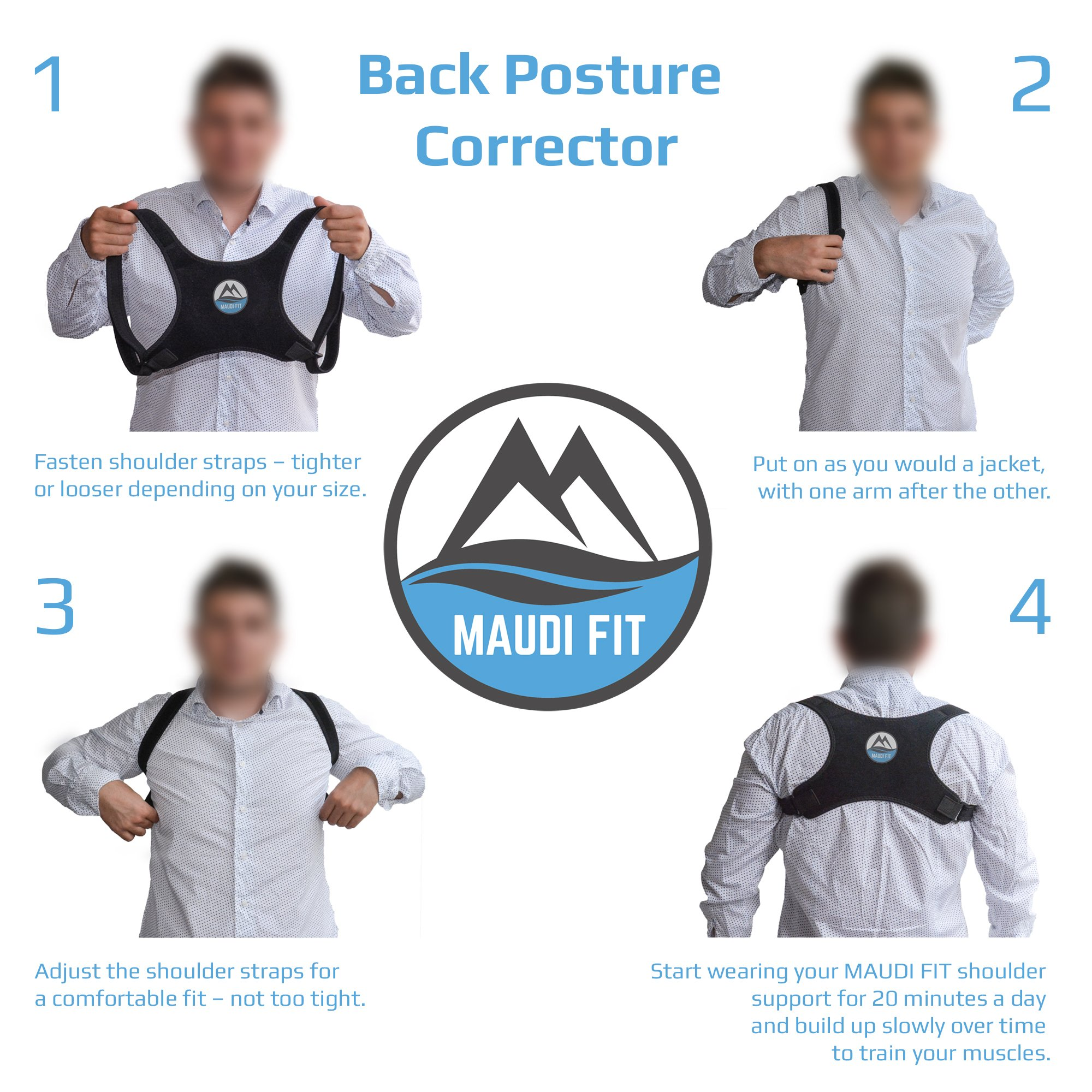 Back Posture Corrector for Women Men MAUDI FIT Back Pain Relief Posture Brace Support for Slouching & Hunching Upper Back Shoulder Correction Free Resistance Band for Stretching (Back Corrector)
