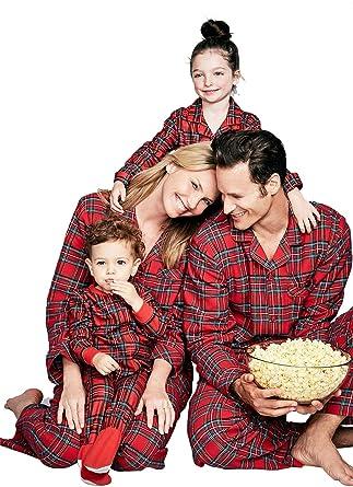 Navidad Familia Coincidencia Conjunto de Pijama Padres e Hijos Navidad Ropa Poliéster Rojos Cuadros Impresión Manga Larga Camiseta Mamá Papá y Son ...