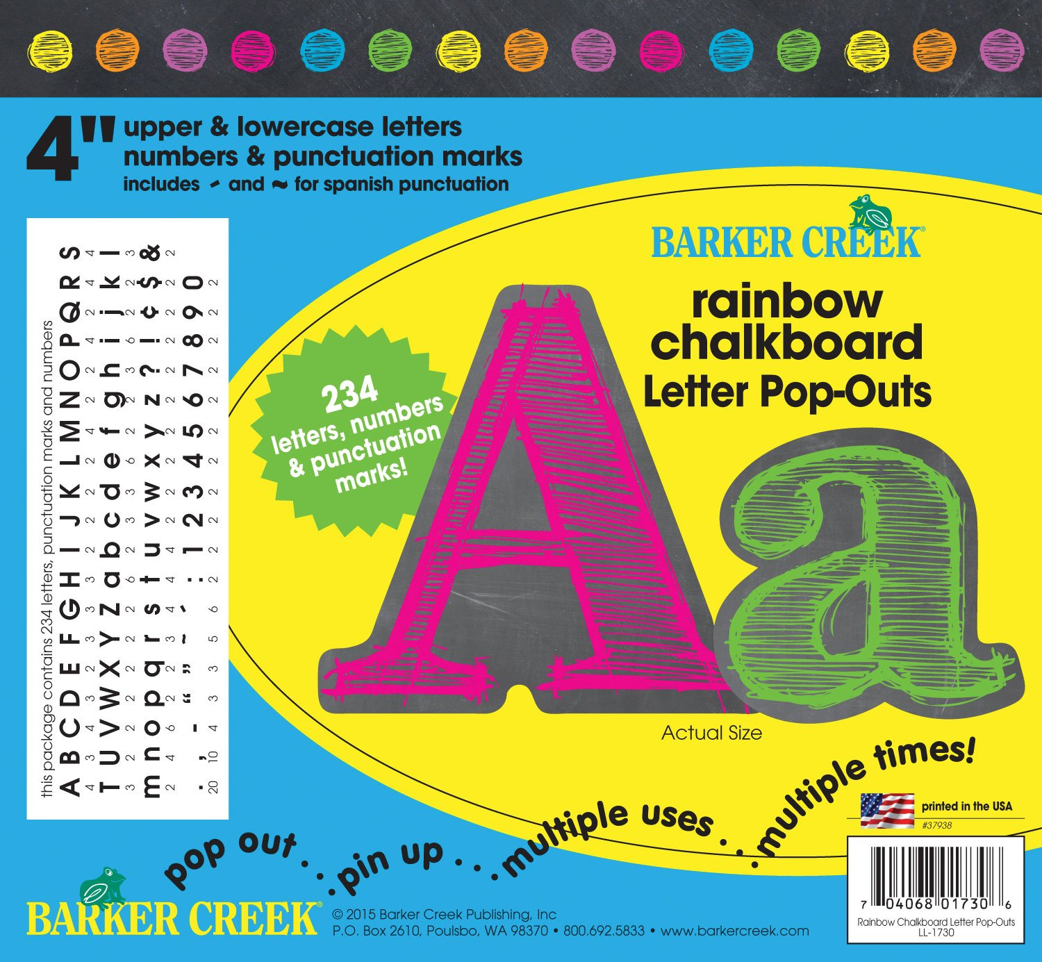 Barker Creek 4'' Poster Letters & Bulletin Board Letter Pop-Outs, Rainbow Chalk (LL-1730) by BARKER CREEK