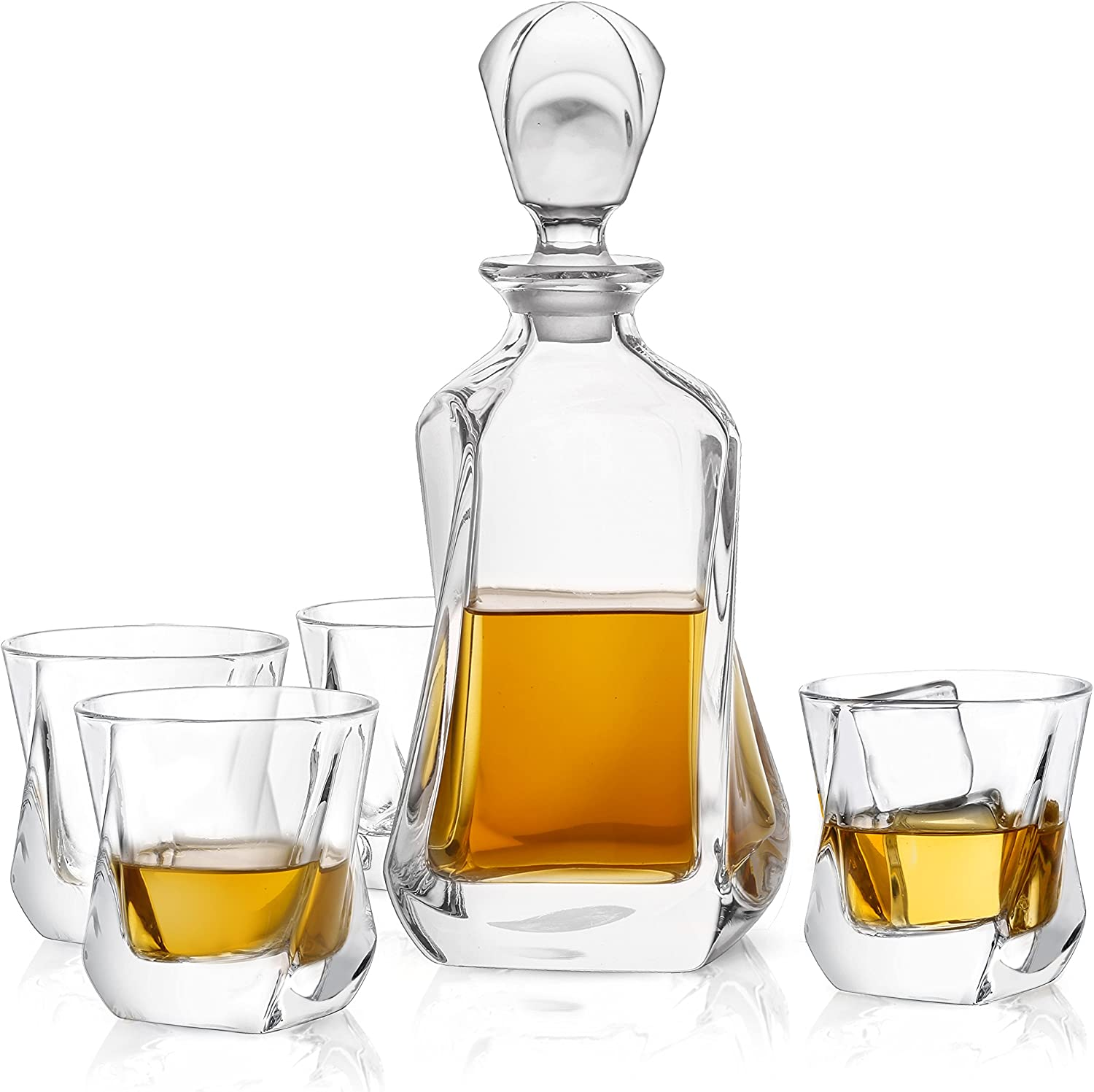 JoyJolt Aurora 5-Piece Crystal Whiskey Decanter Set,100% Crystal Bar Set, Crystal Decanter Set Comes With A Scotch Decanter-25.3 Ounces And A Set Of 4 Old Fashioned Whiskey Glasses-8.10oz