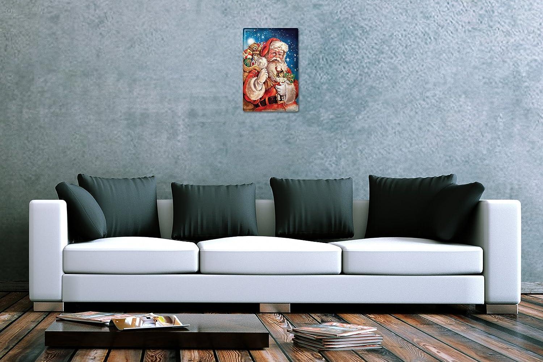 LEotiE SINCE 2004 Plaque en M/étal M/étallique Poster Mural tin Sign D/écoration De No/ël Cadeaux du P/ère No/ël Jouets Publicit/é Signes en M/étal 20X30 cm