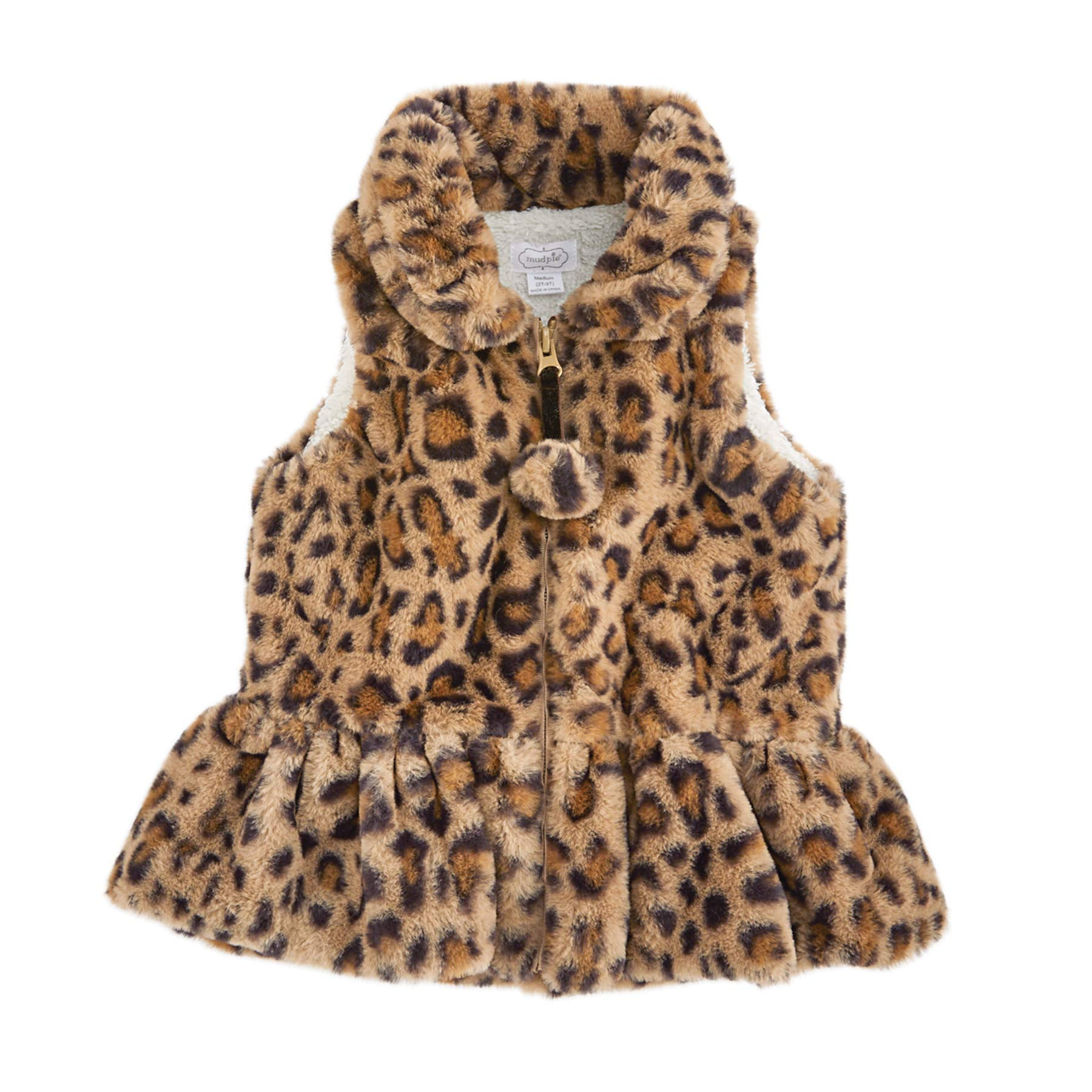 Mud Pie Girls' Faux Leopard Fur Vest (Brown, Large (4T-5T)) by Mud Pie
