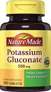 Nature Made Potassium Gluconate 550mg, 100 Tablets (Pack of 6)