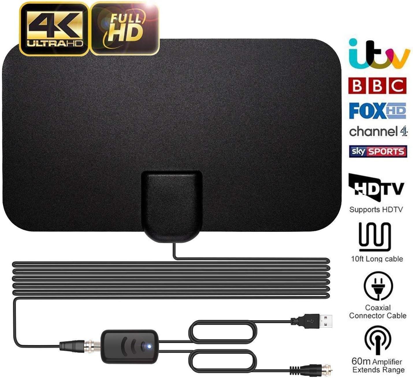 Antena de TV para interior para visión digital, más de 96,6 km de largo alcance, acceso a antena de TV Freeview, compatible con canales 4K 1080P HD/VHF/UHF de visión libre para todos