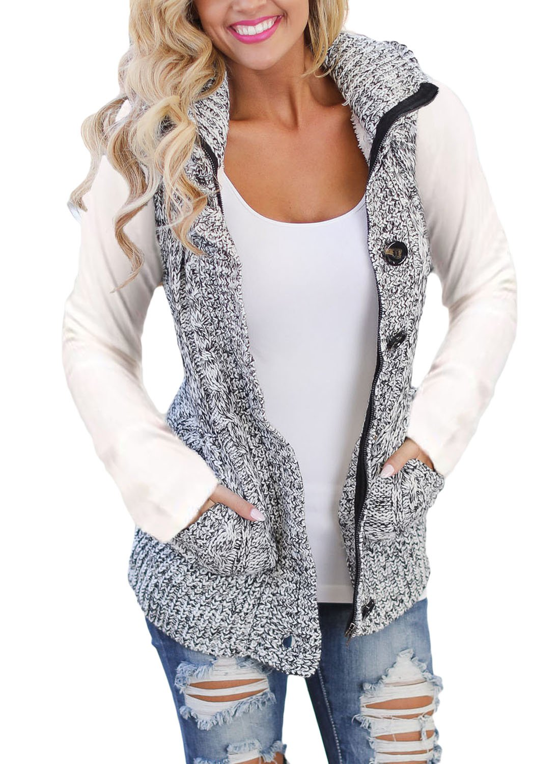 Ebbizt Womens 2018 Fashion Thin Fall Winther Hooded Gilet Jacket Knitted Button Up Cardigan Fleece Sweater Vest Coat Grey Black Small