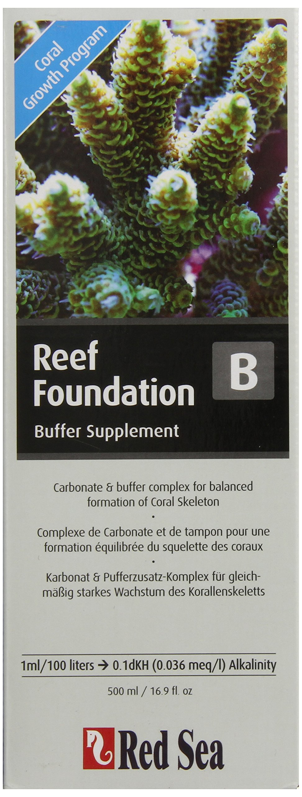 Red Sea Fish Pharm ARE22023 Reef Foundation Buffer Supplement-B for Aquarium, 500ml