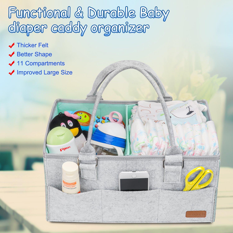 Ruda Baby Windel-Organizer faltbar Filz Aufbewahrungstasche tragbar multifunktional auswechselbare F/ächer f/ür Mama Neugeborene Kinder Windeln