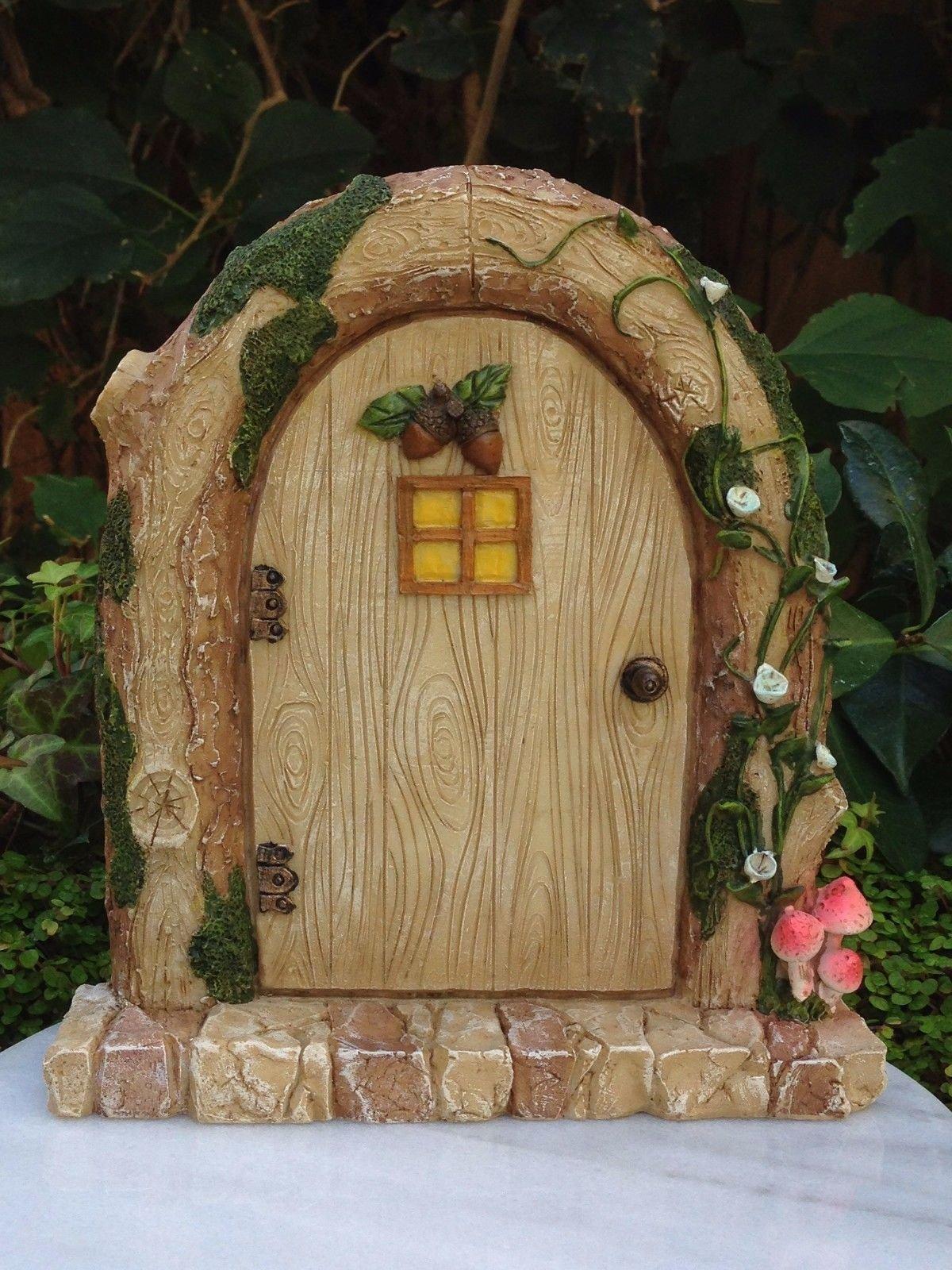Miniature Dollhouse Fairy Garden Resin Charming Wood Log Fairy Door