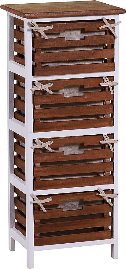 vacchetti José 4118590000 Mueble 4 cajones, Madera, Atena Nogal y Blanco, 35 x 27 x 85 cm: Amazon.es: Hogar
