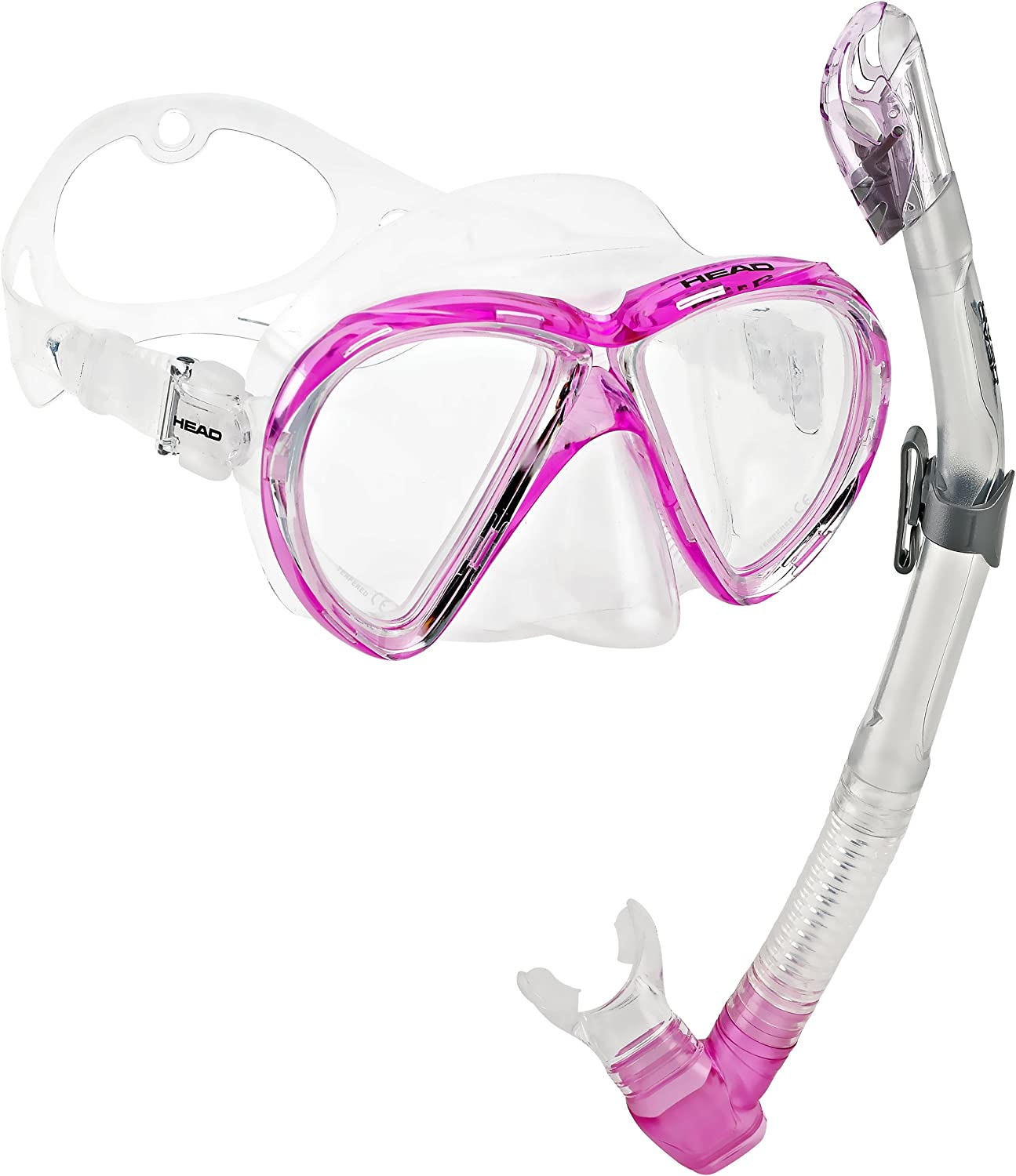 HEAD by Mares Scuba Snorkeling Dive Mask Dry Snorkel Set, Pink White
