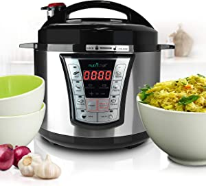 NutriChef PKPRC66.5 Stainless Steel Electric Pressure 5 Quart Programmable Digital Multi Rice Slow Cooker with 8 Modes, Lock Top Lid, Beep Alarm, Adjusta, 13.5 x 13 x 13, Black