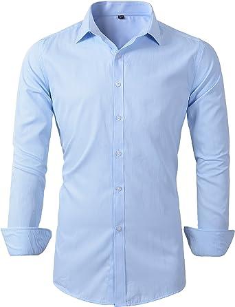 Camisa de Vestir de Manga Larga para Hombre: Amazon.es: Ropa y accesorios