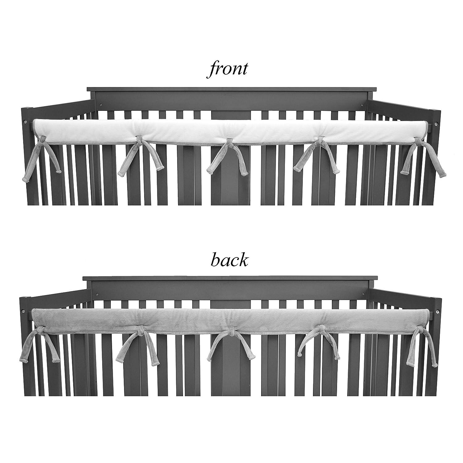 Reversible Crib Cover for Long Rail Gray//White Narrow Rails