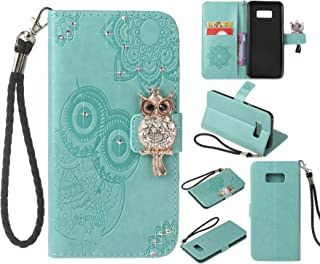 Cfrau Diamond Kickstand Case with Black Stylus for Samsung Galaxy S8 Plus,Luxury Embossed Crystal 3D Owl Flower Bling Glitter Wallet PU Leather Shockproof Soft TPU Wrist String Case - Rose Gold