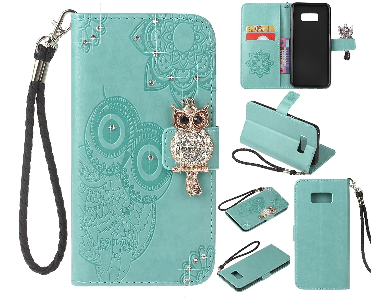 Cfrau Diamond Kickstand Case with Black Stylus for Samsung Galaxy S8 Plus,Luxury Embossed Crystal 3D Owl Flower Bling Glitter Wallet PU Leather Shockproof Soft TPU Wrist String Case - Red