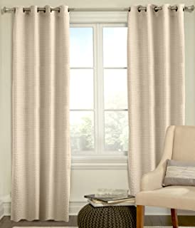 product image for Veratex The Payton Window Collection Made in The U.S.A. 100% Cotton Living Room Grommet Window Panel Curtain, Ivory, 108""