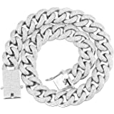 GOLD IDEA JEWELRY 18mm Iced Out Cubic Zirconia Hip Hop Miami Cuban Link Chain for Men
