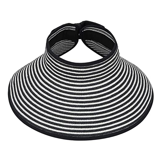 3191e9dd36d Image Unavailable. Image not available for. Color  HDE Womens Roll Up Sun  Hats Straw Visor Beach Bonnet Cap