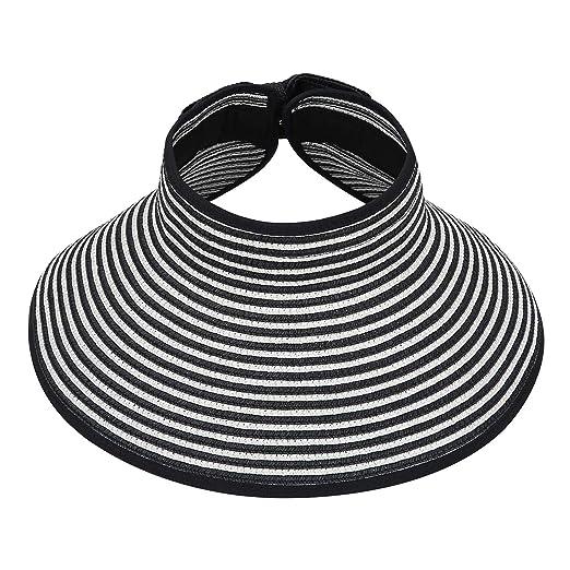 7a71cc40 HDE Womens Roll Up Sun Hats Straw Visor Beach Bonnet Cap at Amazon Women's  Clothing store: