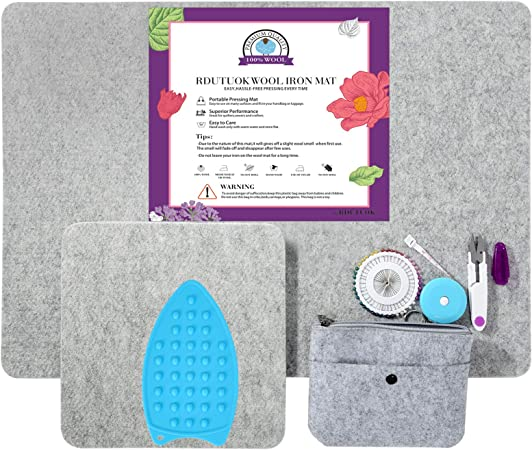 Iron Board with Quilting Supplies Included DeVries Essentials Wool Pressing Mat for Quilting 2 Pack 17 x 24 and 10 x 10 100/% New Zealand Wool Ironing Pad for Quilters