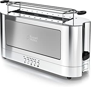Russell Hobbs TRL9300GYR 2-Slice Glass Accent Long Toaster, Silver & Stainless Steel