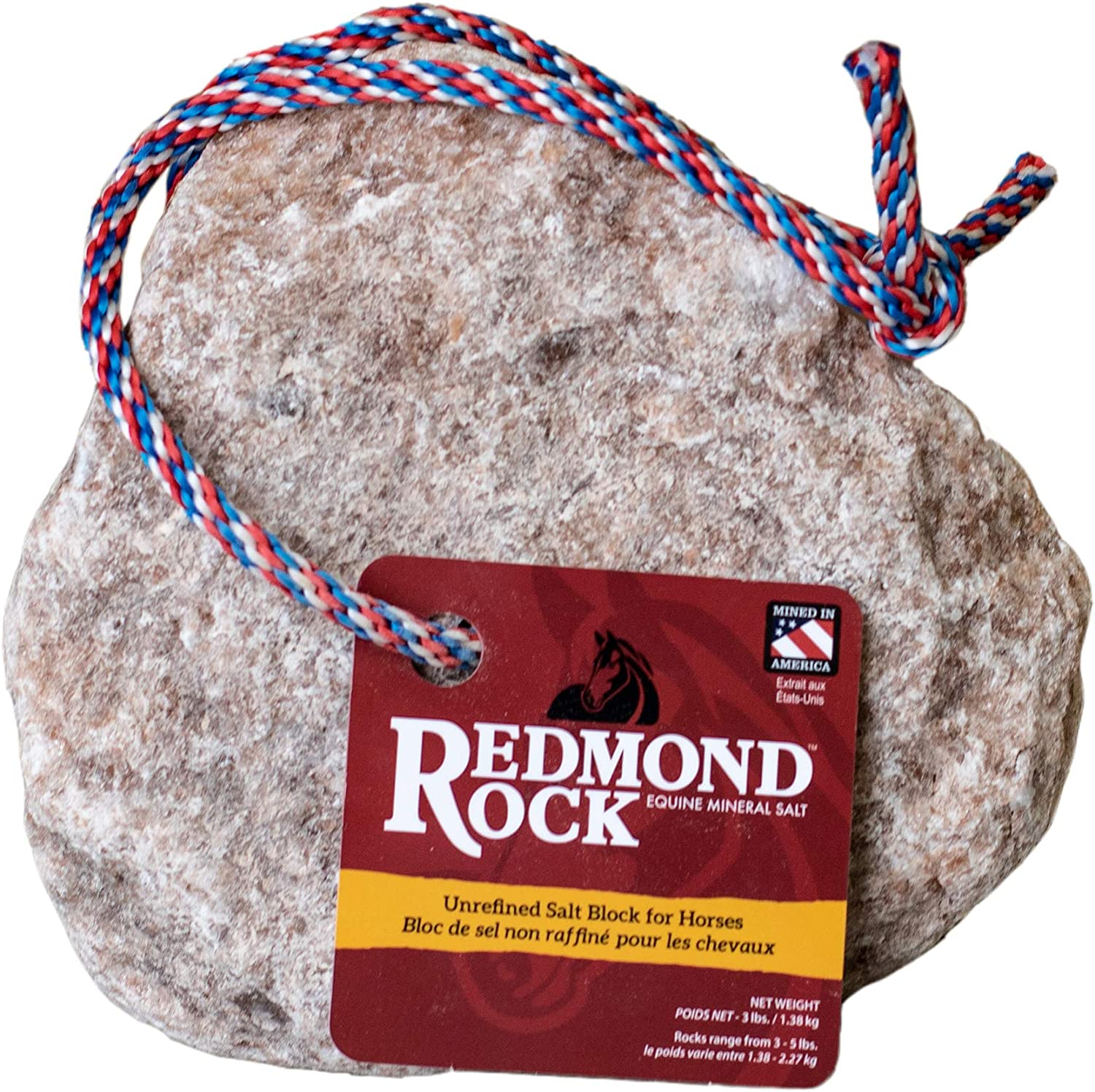 REDMOND - Rock on a Rope Unrefined Salt Rock for Horses; 3 to 5 lbs-3 Pack …