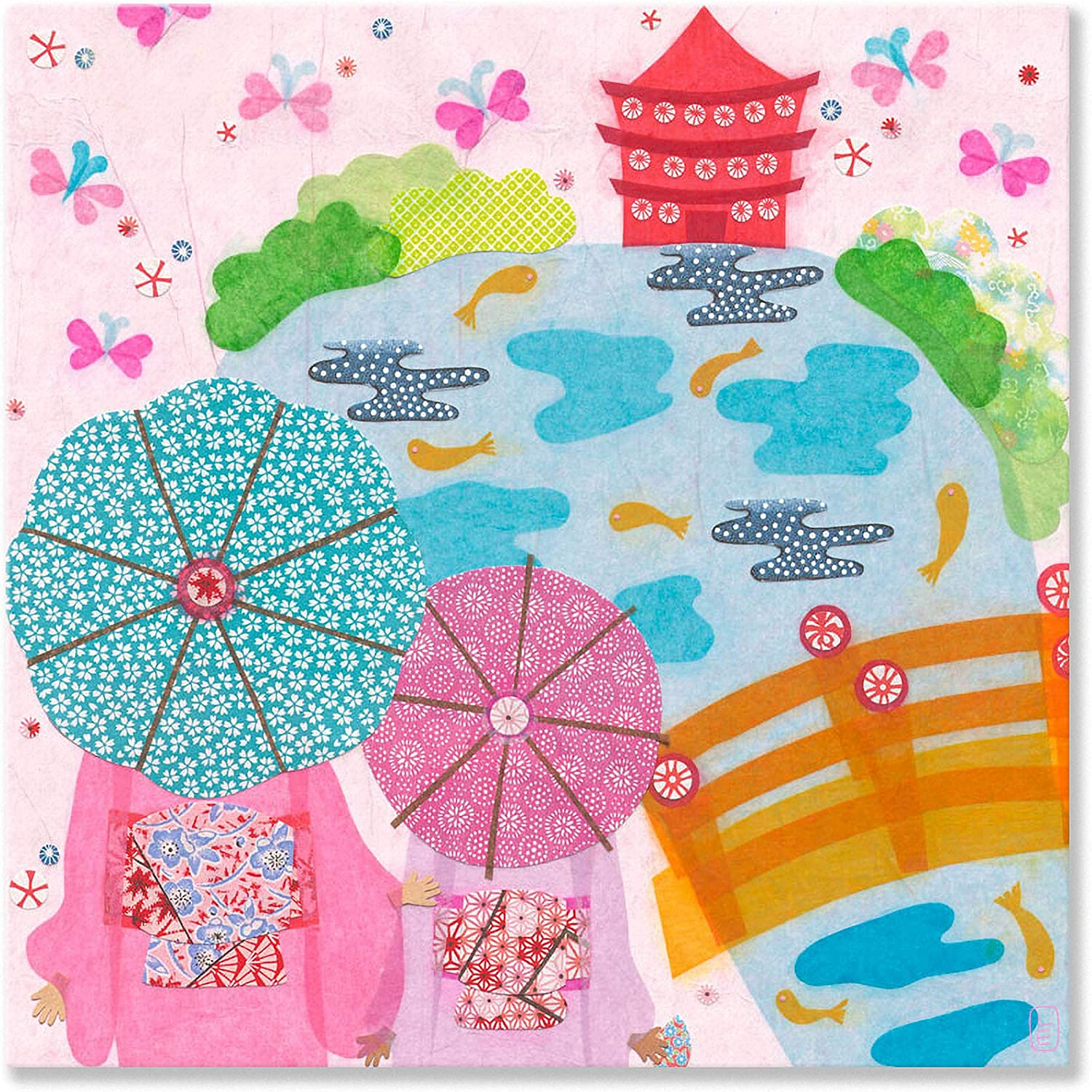 Oopsy Daisy Japanese Garden Girls Canvas Wall Art, 14x14, Pink