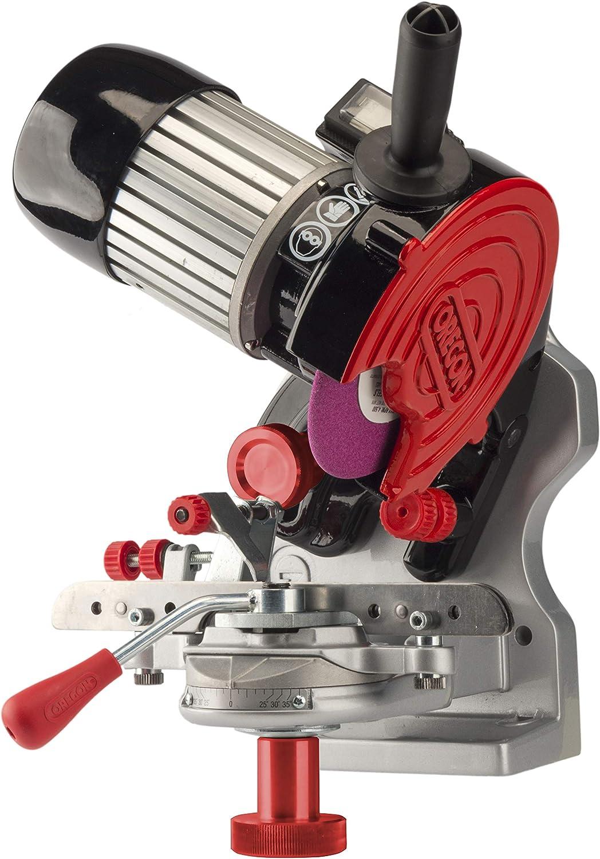 Oregon 410-230 - Sacapuntas semiprofesional (230 V, sin asistencia de sujeción hidráulica, para todas las cadenas de motosierra), color gris, negro, rojo