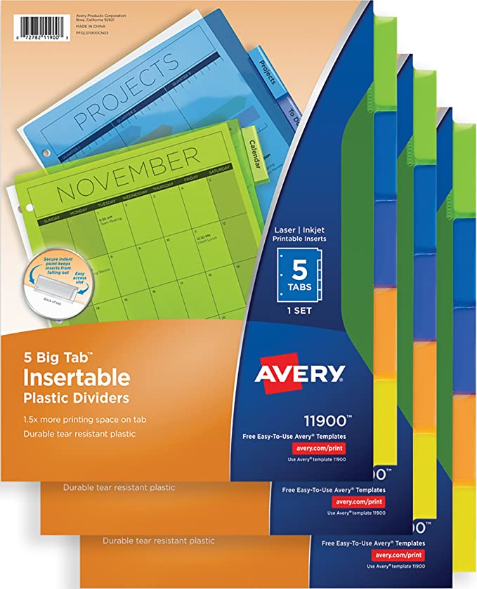 Amazon Avery Big Tab Insertable Plastic Dividers 5 Tab Set