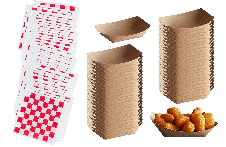 Bandejas de papel para alimentos y revestimientos Deli Wrap – 2 libras Natural Eco-Kraft botes de papel – rojo cuadros cono cesta forros – 50 cada uno: Amazon.es: Industria, empresas y ciencia