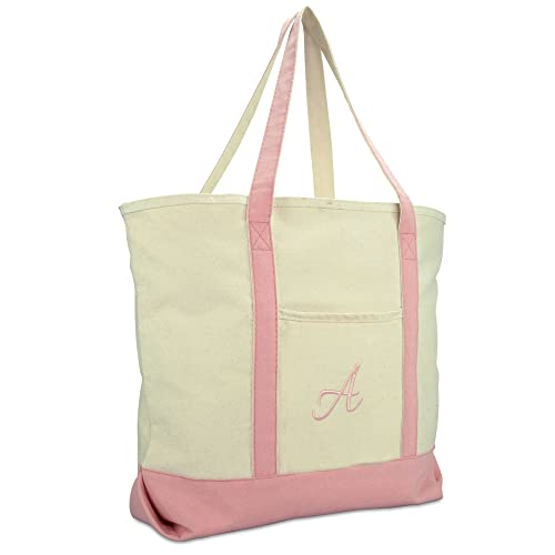 8617ceca84 DALIX Personalized Shopping Tote Bag Monogram Pink Ballent Zippered Letter A