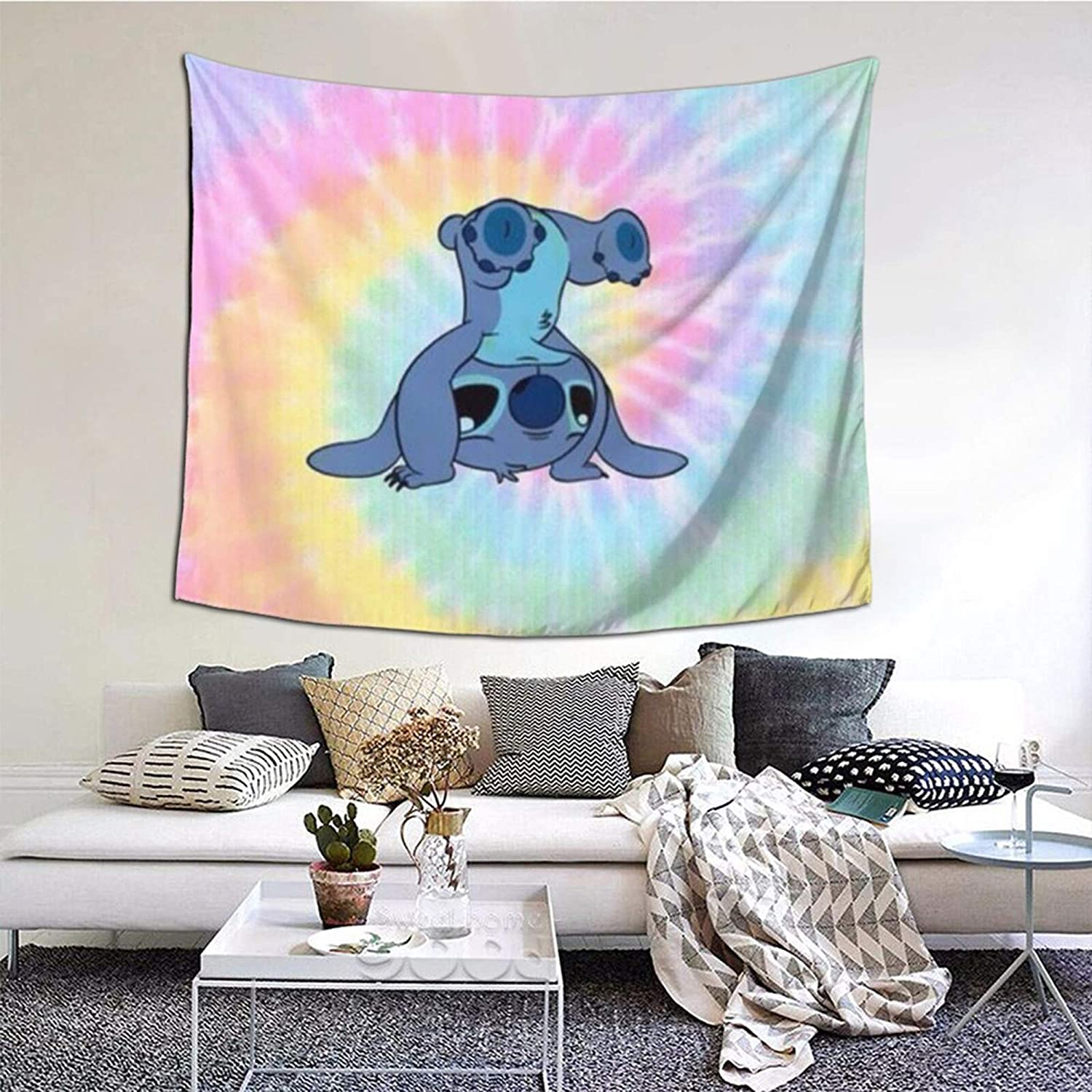 Zebraprime Arts Li-lo And S-tit-ch Wall Tapestry With Art Nature Home Decorations For Living Room Bedroom Dorm Decor 60X51 Inches