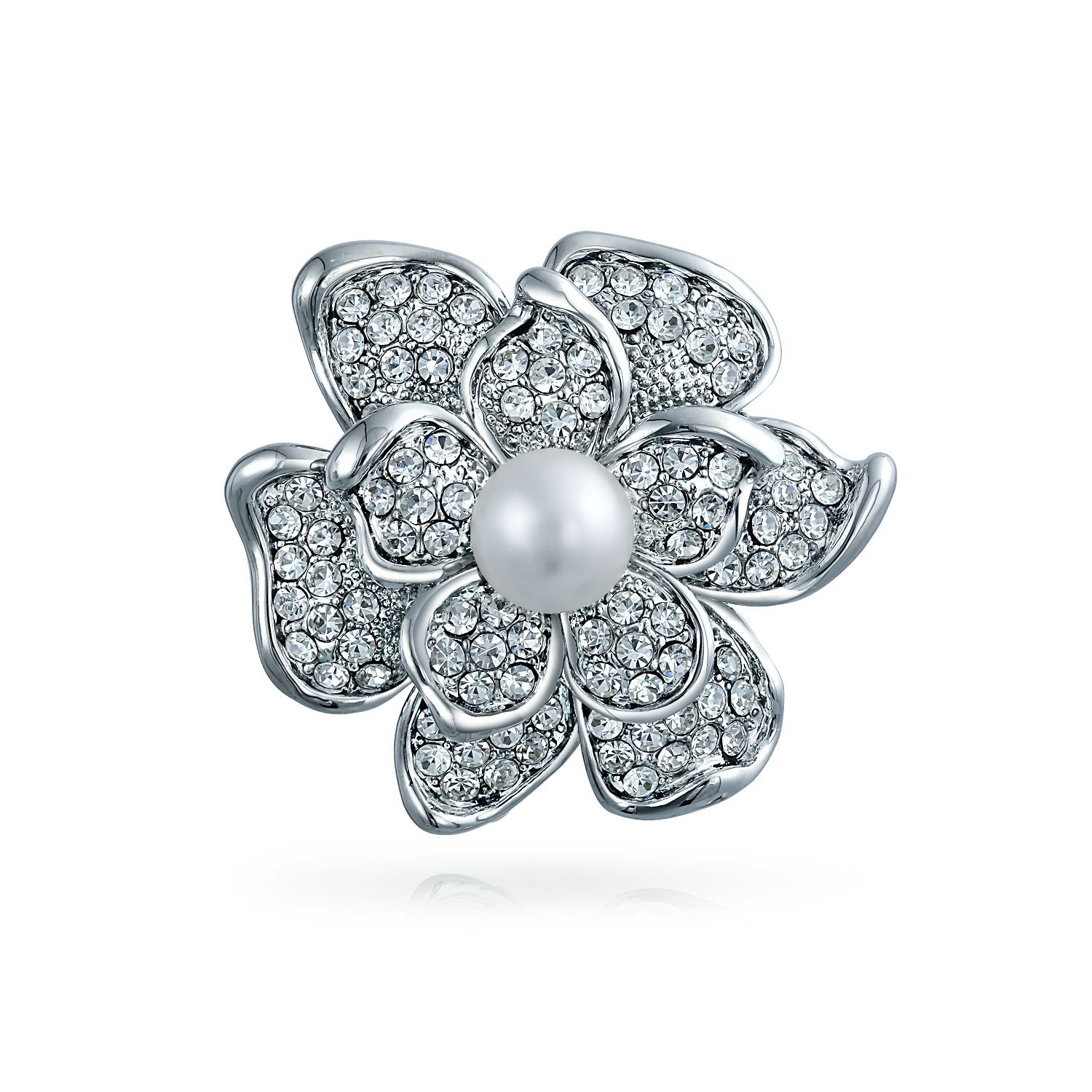 Bling Jewelry Bridal Crystal White Fashion Simulated Pearl Large Statement Flower Rose Pin Brooch for Women for Mother Silver Plated