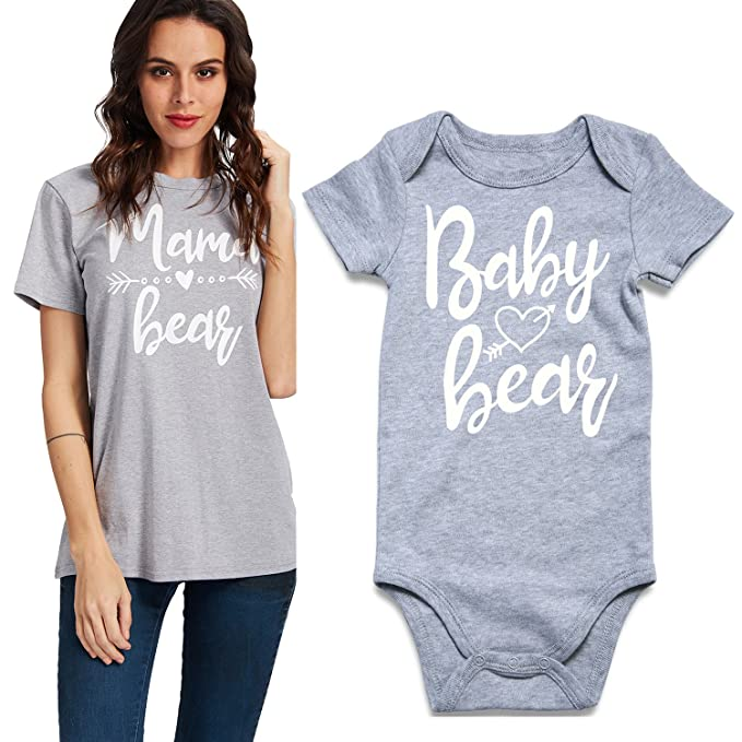 59cfb7b523ba Uideazone Matching Family Shirt for Mom and Baby Women Tee Shirt and Baby  Boys Girls Short